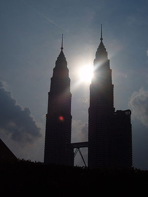 Twin Towers at sunset