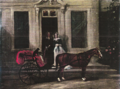 Two ladies of the carter family in the door way of castlemartin. Their horse and carriage and a small dog are seen waiting.png