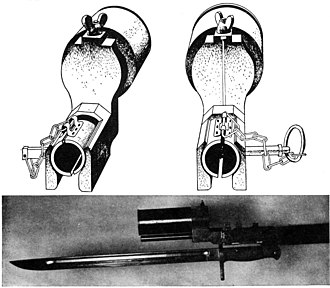 Type 91 grenade - Japanese Type 100 rifle grenade launcher used to launch standard Type 91 hand-grenades