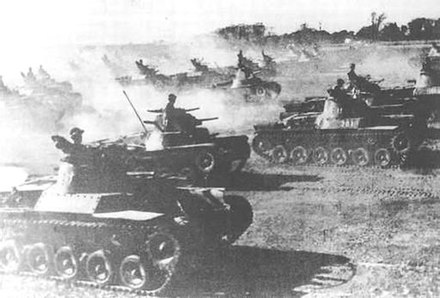Chi-Has and Ha-Gos of the Chiba Tank School during exercises (1940) Type 95 tanks and type 97 tanks of the Chiba Tank School during exercises (1940).jpg