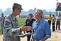 U.S. Army Maj. Gen. Daniel Hokanson, Oregon adjutant general , speaks with Oregon Governor John Kitzhaber at the incident command post for the Douglas Complex fires, near Glendale, Ore., Aug. 3, 2013 130803-Z-UF867-120.jpg