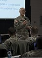 U.S. Army Maj. Gen. Peter Lennon, center, the commanding general of the 377th Sustainment Command, speaks to human resources Soldiers during Silver Scimitar 2013 130312-A-AC168-218.jpg