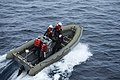 U.S. Sailors assigned to the guided missile destroyer USS Stout (DDG 55) maneuver a rigid-hull inflatable boat near the ship during a man overboard drill in the Mediterranean Sea Jan. 9, 2014 140109-N-UD469-052.jpg