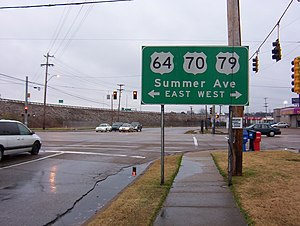 U.S. Route 70 - US64/US70/US79 overlap on Summer Avenue in Memphis, Tennessee. (2008)