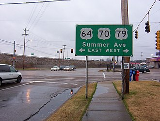 Transportation in Memphis, Tennessee - US64 / US70 / US79 travel concurrently in Memphis (2008)