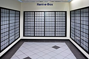 Post-office box - PO boxes in the lobby of a U.S. post office