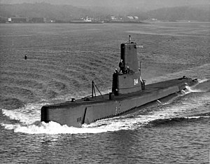 Cavalla, possibly making her way to the International Naval Review in 1957.
