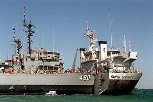 USS Leader (MSO-490) - USS Leader (MSO-490) aboard Super Servant 3.