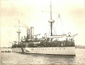 USS Maine (ACR-1) - Stern view of Maine