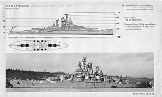 USS Nevada (BB-36) - Division of Naval Intelligence identification sheet depicting Nevada after her 1942 repair and modernization