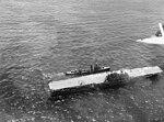 USS Russel (DD-414) comes alongside USS Hornet (CV-8) during the Battle of Santa Cruz Islands on 26 October 1942 (80-G-304514).jpg