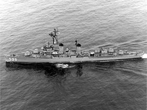 USS Shields (DD-596) underway in the 1960s