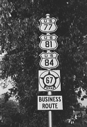 Business route - 1939 photograph of a business route in Waco, Texas, United States.