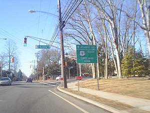 U.S. Route 9 in New Jersey - US 9 southbound at Route 157 in Absecon