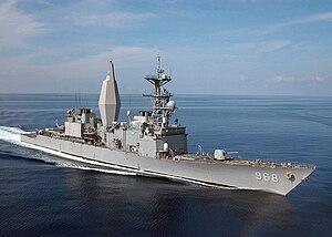 US Navy 021127-N-3653A-004 Spruance-class Arthur W. Radford steams through the Mediterranean Sea