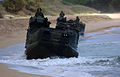 US Navy 050628-N-9866B-010 U.S. Marines assigned to 3rd Amphibious Assault Battalion, drive their Amphibious Assault Vehicles (AAVs) down the beach.jpg