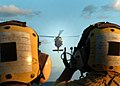 US Navy 050922-N-0716S-005 Landing Signalman Enlisted personnel guide a MH-60S Seahawk helicopter for a landing during an evening vertical replenishment evolution aboard the amphibious assault ship USS Tarawa (LHA 1).jpg