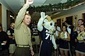 US Navy 051130-N-2568S-002 Commandant of the Marine Corps Gen. Michael Hagee and the U.S. Naval Academy mascot Bill the Goat wave to the crowd during a Pep-Rally.jpg