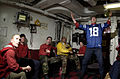 US Navy 070204-N-7130B-085 In the crash and salvage office aboard Nimitz-class aircraft carrier USS Ronald Reagan (CVN 76), Sailors erupt as the Indianapolis Colts score a touchdown during a live broadcast of Super Bowl XLI.jpg