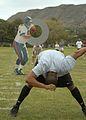 US Navy 070208-N-4400J-099 Information Specialist Technician Joe McGill makes an NFL-regulation 8-yard long snap as part of the NFL Pro Bowl All-Military Challenge at Kapiolani Park.jpg