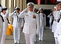 US Navy 070508-N-4965F-003 Commander, U.S. Pacific Fleet, Adm. Gary Roughead, salutes as he's piped through the sideboys during a change of command ceremony.jpg