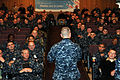 US Navy 111104-N-NR998-039 Master Chief Petty Officer of the Navy (MCPON) Rick D. West speaks to Sailors during an all-hands call at Naval Base Kit.jpg