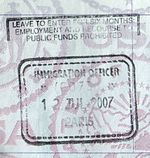 A UK passport stamp issued in Paris