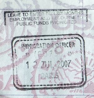 UK passport entry stamp from Paris for travel ...