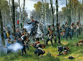 Light infantry - French light infantry in the woods during the Napoleonic era, by Victor Huen.