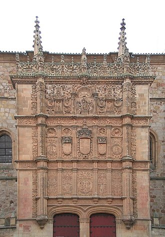 University of Salamanca - Close up of the plateresque façade of the University of Salamanca.