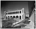 VIEW OF EAST PORTICO AND CORNER TOWERS - Casa Del Desierto, 685 North First Avenue, Barstow, San Bernardino County, CA HABS CAL,36-BAR,1-7.tif