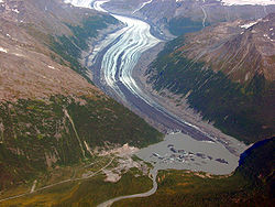 Valdez Glacier has thinned 90 m (300 ft) over the last century and the barren ground near the glacial margins have been exposed due to the glacier thinning and retreating over the last two decades of the 20th century.(Pelto5)