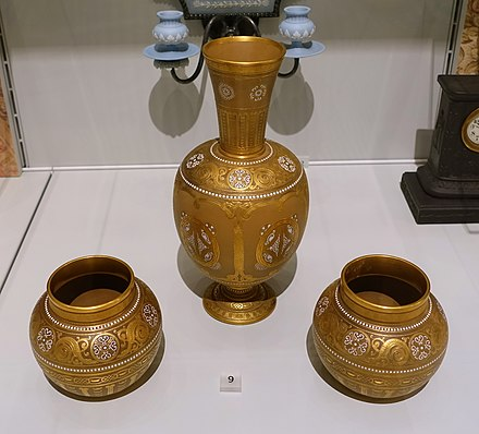 Vases with Celtic motifs, c. 1900, Caneware with raised gilding, by Wedgwood.