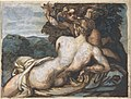 Venus and Cupid in a Landscape, after Annibale Carracci (recto); A Warrior Holding a Shield and Sword, Seen from the Back (verso) MET DP806429.jpg