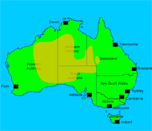 Australian feral camel - Image: Verbreitung von Kamelen in Australiien