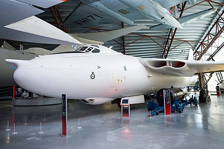 Forward view of preserved Vickers Valiant XD818 at RAF Museum Cosford