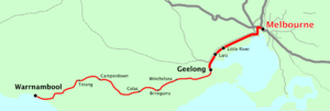Warrnambool V/Line rail service - Image: Vicrailmap geelong
