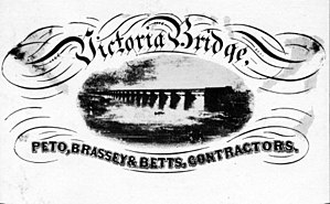 Peto, Brassey and Betts - Handbill showing Victoria Bridge and the names of the partners