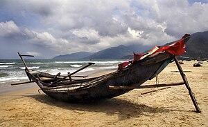 Fishing boat at Lang Co Beach, between Hoi An ...