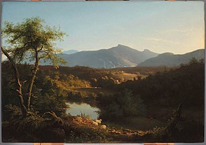 Kaaterskill High Peak - View Near the Village of Catskill, by Thomas Cole, 1827. One of his many paintings to feature High Peak and Round Top.