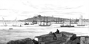 St Mawes Castle - The view across Carrick Roads from St Mawes in 1875, showing Pendennis Castle in the distance