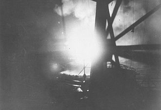 Battle of Savo Island - View from the Japanese cruiser Chokai during the battle as aerial flares illuminate the Allied southern force.