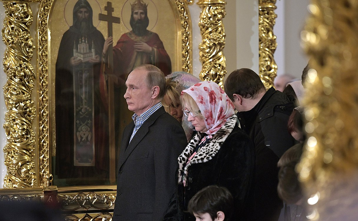 Vladimir Putin at Christmas service at the Church of Simeon and Anna (St. Petersburg; 2018-01-07) 08.jpg