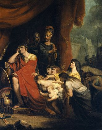 Coriolanus - An 1800 painting by Richard Westall of Volumnia pleading with Coriolanus not to destroy Rome.