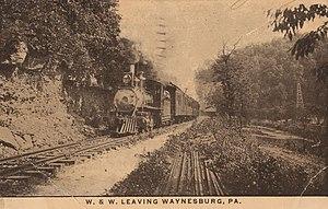 Waynesburg and Washington Railroad - Image: W. & W. Leaving Waynesburg, PA