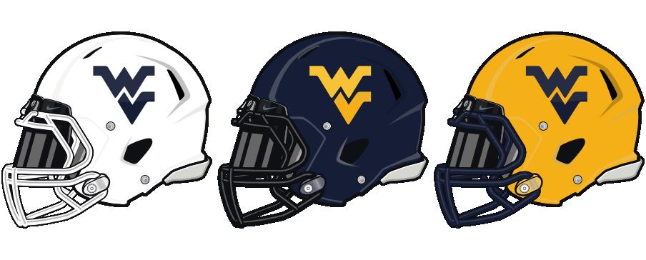 WVU Football Helmets