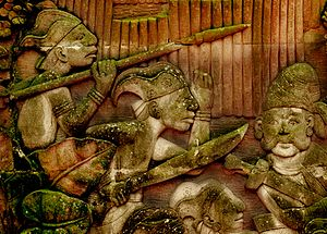 Kingdom of Singapura - Depiction of Malay warriors of ancient Singapura on a relief in Fort Canning Park, Singapore.