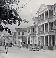 Water-front houses in Paramaribo, 1955