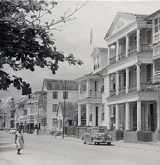 Suriname - Waterfront houses in Paramaribo, 1955.