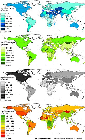 Water footprint - Global view of national per capita water footprints